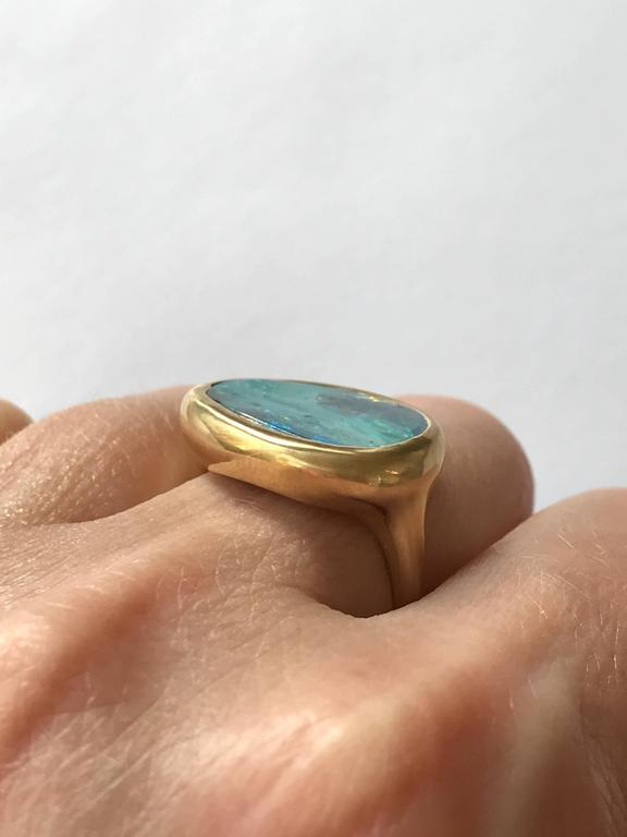 Dalben Stormy Sky Australian Boulder Opal Yellow Gold Ring For Sale 4