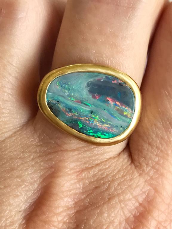 Dalben Stormy Sky Australian Boulder Opal Yellow Gold Ring For Sale 1