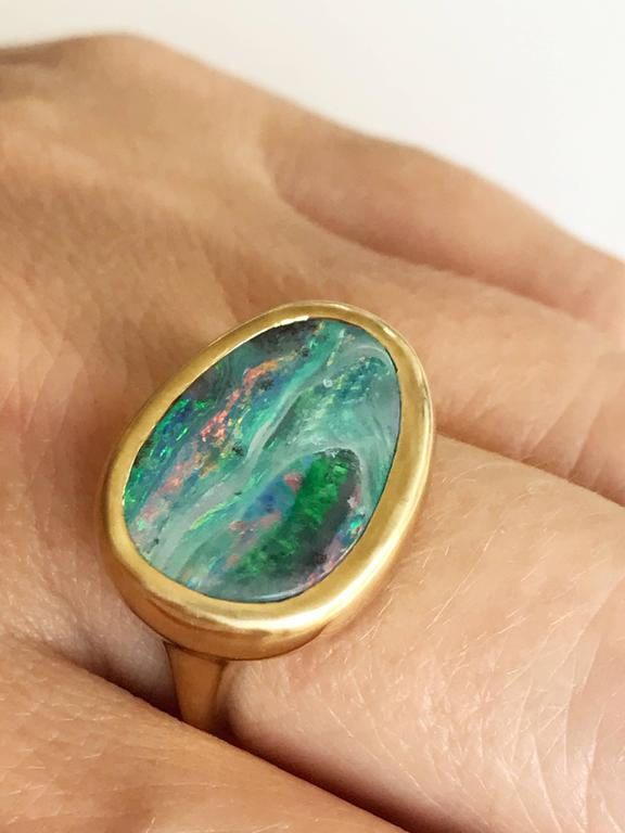 Dalben Stormy Sky Australian Boulder Opal Yellow Gold Ring For Sale 3