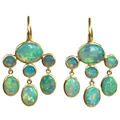Dalben Australian Opal Yellow Gold Dangle Earrings