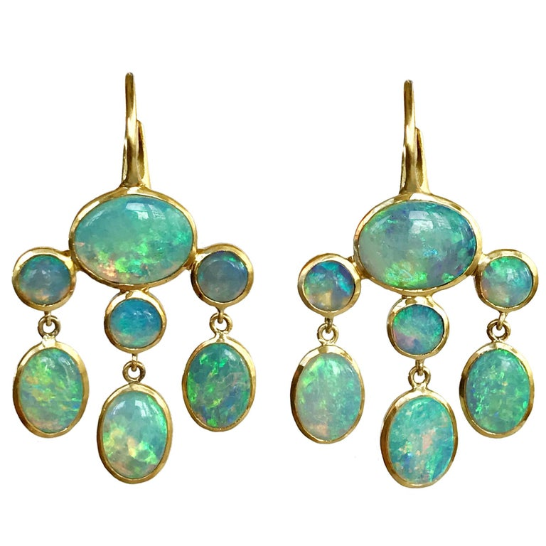 Dalben Australian Opal Yellow Gold Dangle Earrings