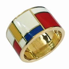 Dalben Homage to Mondrian Unisex Enamel Gold Ring
