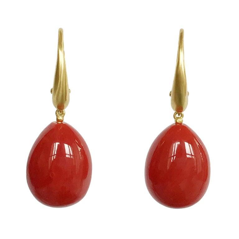 Dalben Design Drop Shape Mediterranean Red Coral Yellow Gold Earring