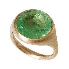 Dalben Round Emerald Rose Gold Ring