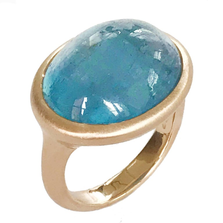 Dalben Oval Aquamarine Rose Gold Ring