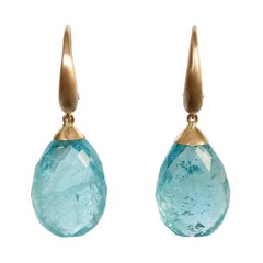 Dalben Design Drop Aquamarine Rose Gold Dangle Earring