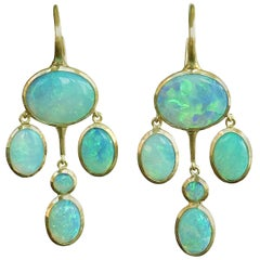 Dalben Australian Opal Yellow Gold Drop Earrings