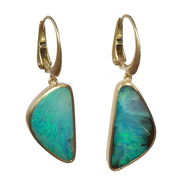 Dalben Light Blue Australian Boulder Opal Yellow Gold Dangle Earrings