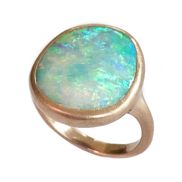 Dalben Light Australian Boulder Opal Rose Gold Ring For Sale