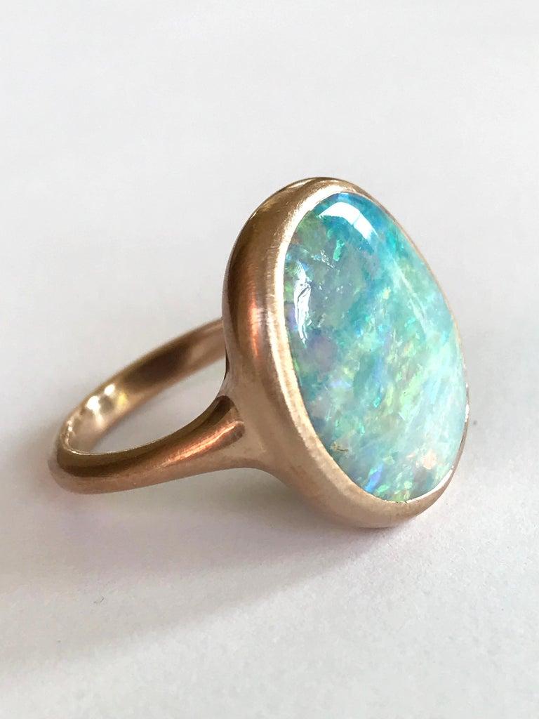 Contemporary Dalben Light Australian Boulder Opal Rose Gold Ring For Sale