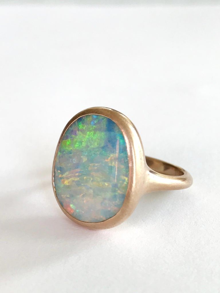 Dalben Light Australian Boulder Opal Rose Gold Ring In New Condition For Sale In Como, IT
