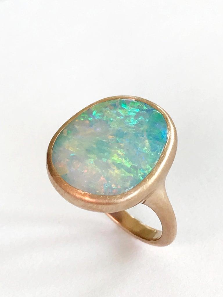 Dalben Light Australian Boulder Opal Rose Gold Ring For Sale 1