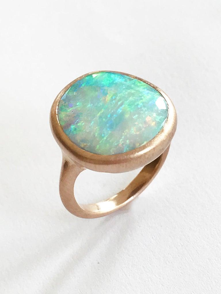 Dalben Light Australian Boulder Opal Rose Gold Ring For Sale 3