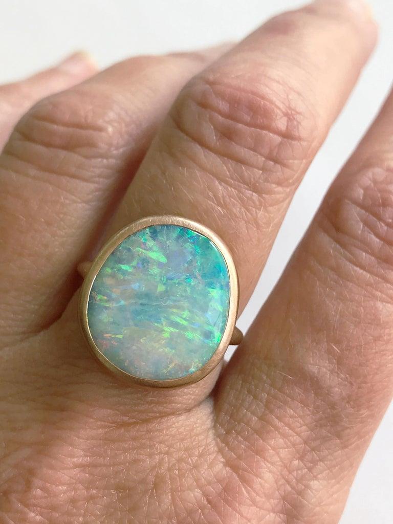 Dalben Light Australian Boulder Opal Rose Gold Ring For Sale 4
