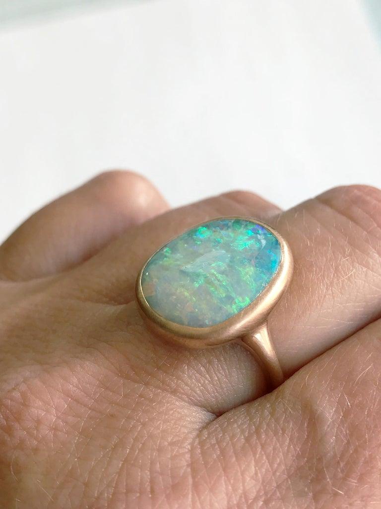 Dalben Light Australian Boulder Opal Rose Gold Ring For Sale 5