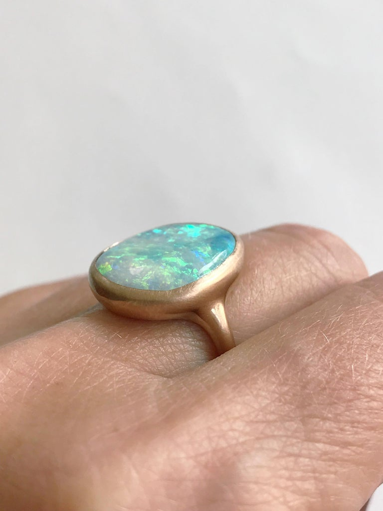 Dalben Light Australian Boulder Opal Rose Gold Ring For Sale 6