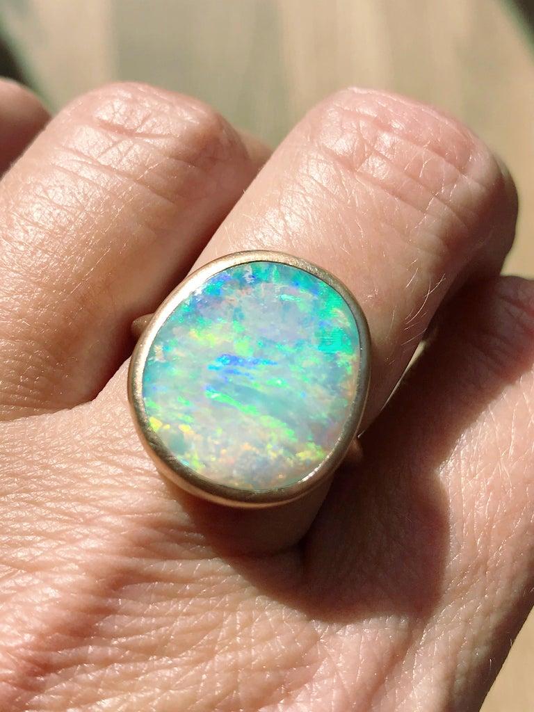 Dalben Light Australian Boulder Opal Rose Gold Ring For Sale 7