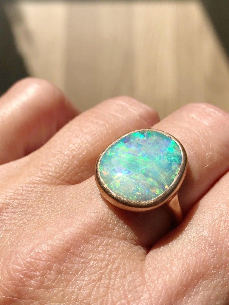 Dalben Light Australian Boulder Opal Rose Gold Ring For Sale 8