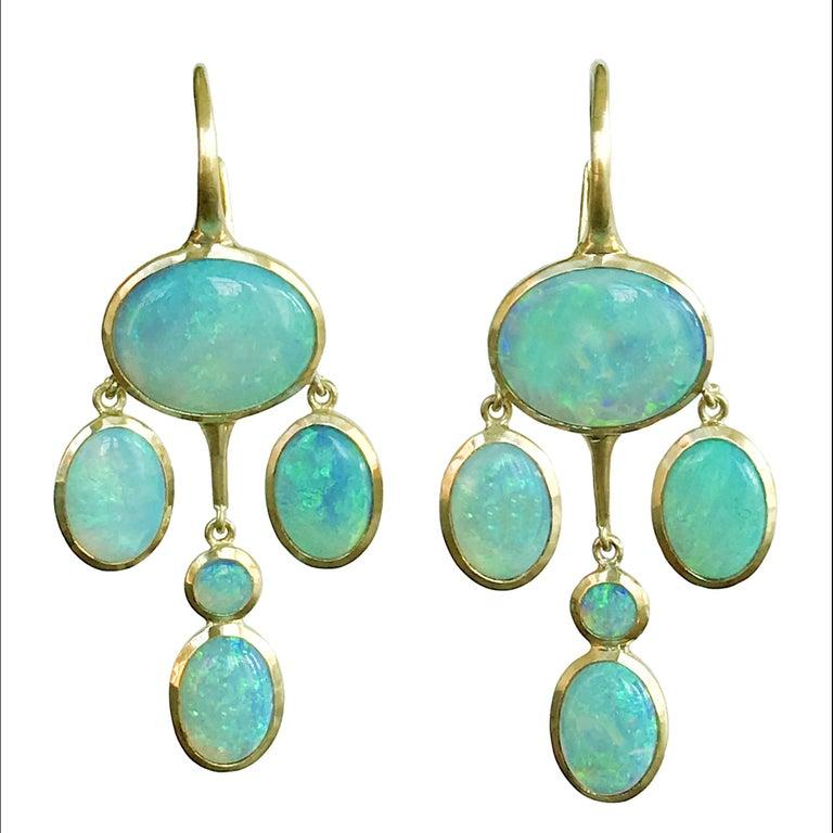 Dalben Australian Opal Yellow Gold Drop Earrings