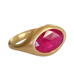 Dalben Oval Rose Cut Slice Ruby Yellow Gold Ring