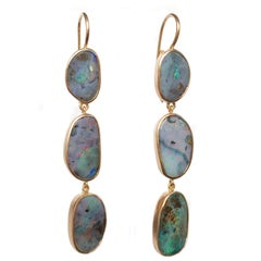 Dalben Australian Boulder Opal Rose Gold Dangle Earrings