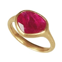 Dalben Drop Shape Rose Cut Slice Ruby Yellow Gold Ring