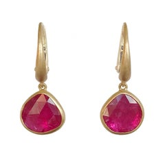 Dalben Drop Shape Rose Cut Slice Rubies Yellow Gold Earrings