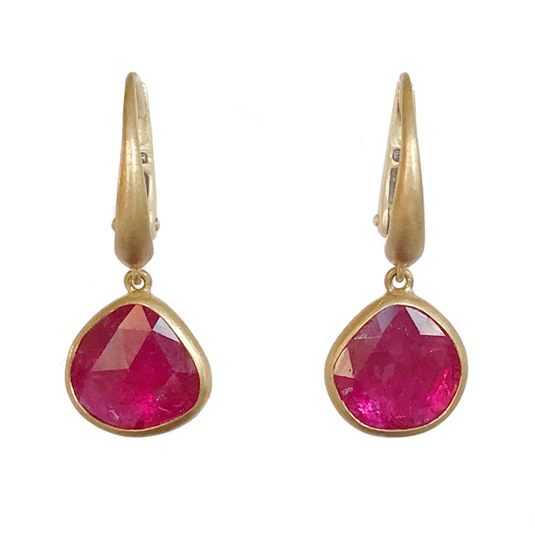 Dalben Drop Shape Rose Cut Slice Rubies Yellow Gold Earrings For Sale