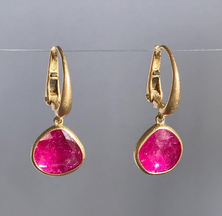 Dalben design One of a Kind 18k yellow gold matte finishing earrings with two  bezel-set drop shape rose cut slice rubies total weight  2,7 carat.  Earring dimension :  max width 10,9 mm  height without leverback 10,5 mm  height with leverback 25,5