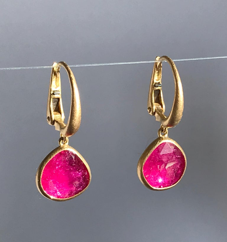 Dalben Drop Shape Rose Cut Slice Rubies Yellow Gold Earrings In New Condition For Sale In Como, IT