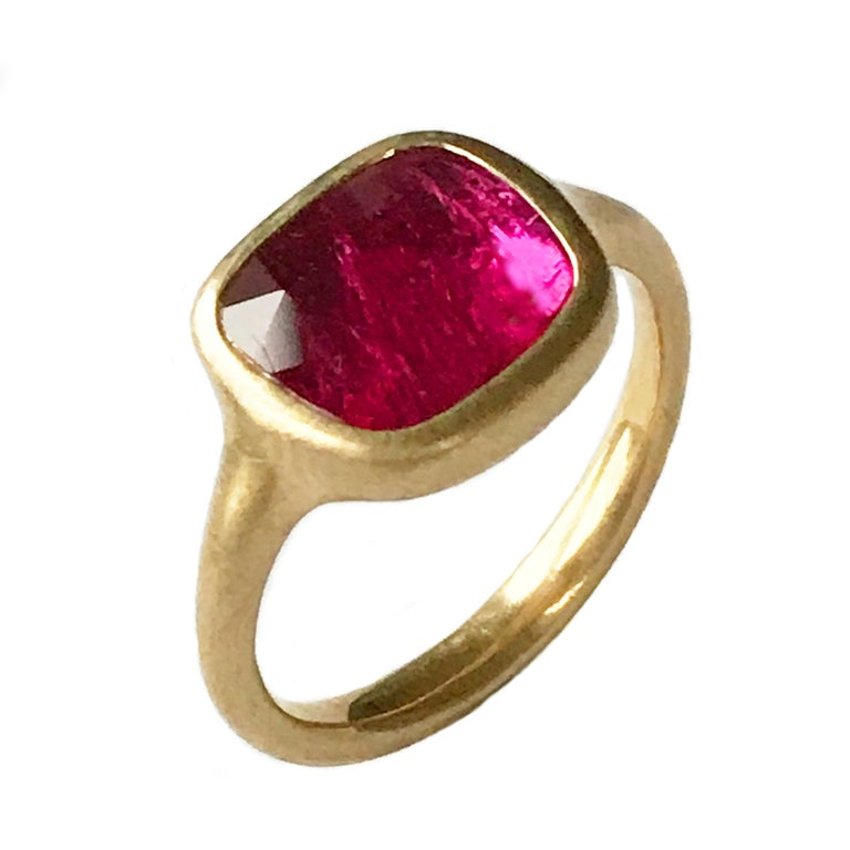 Dalben Square Rose Cut Slice Ruby Yellow Gold Ring For Sale