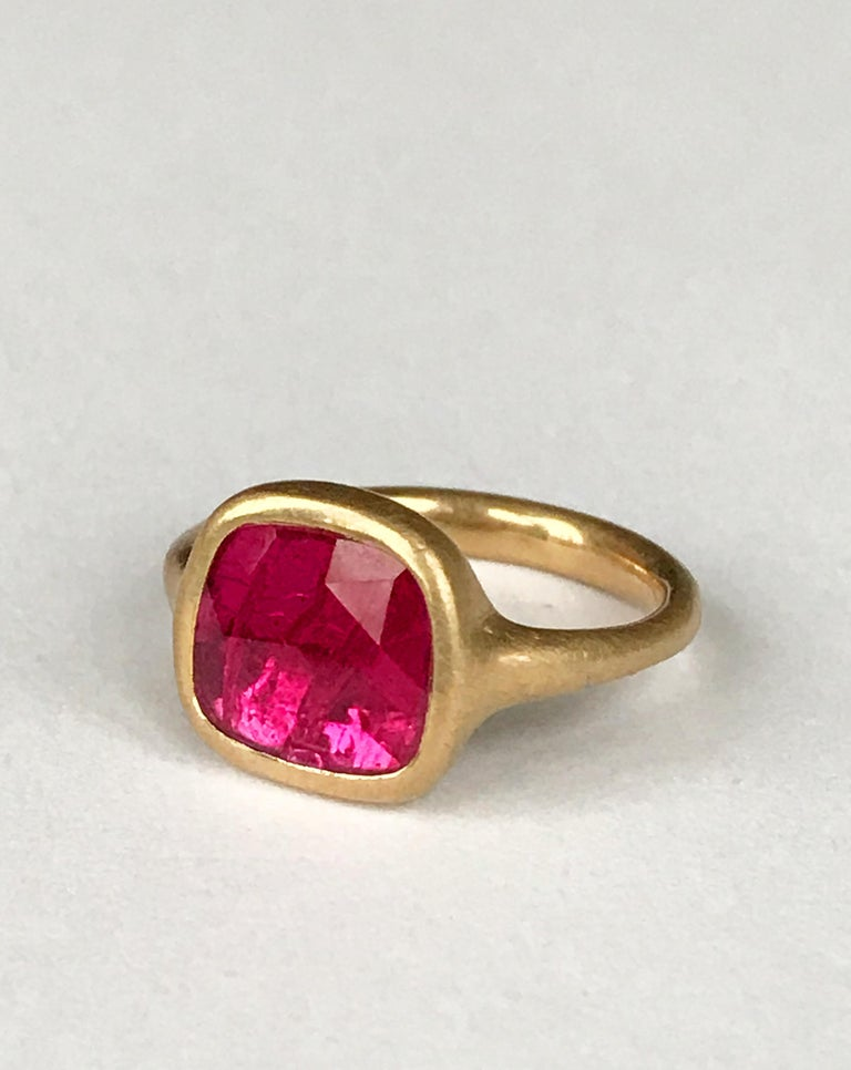 Dalben design One of a Kind 18k yellow gold matte finishing ring with a 1,69 carat bezel-set square shape rose cut slice ruby.  Ring size 7 USA - EU 55 re-sizable to most finger sizes.  Bezel stone dimensions : height 11,5 mm width 12,6 mm The ring