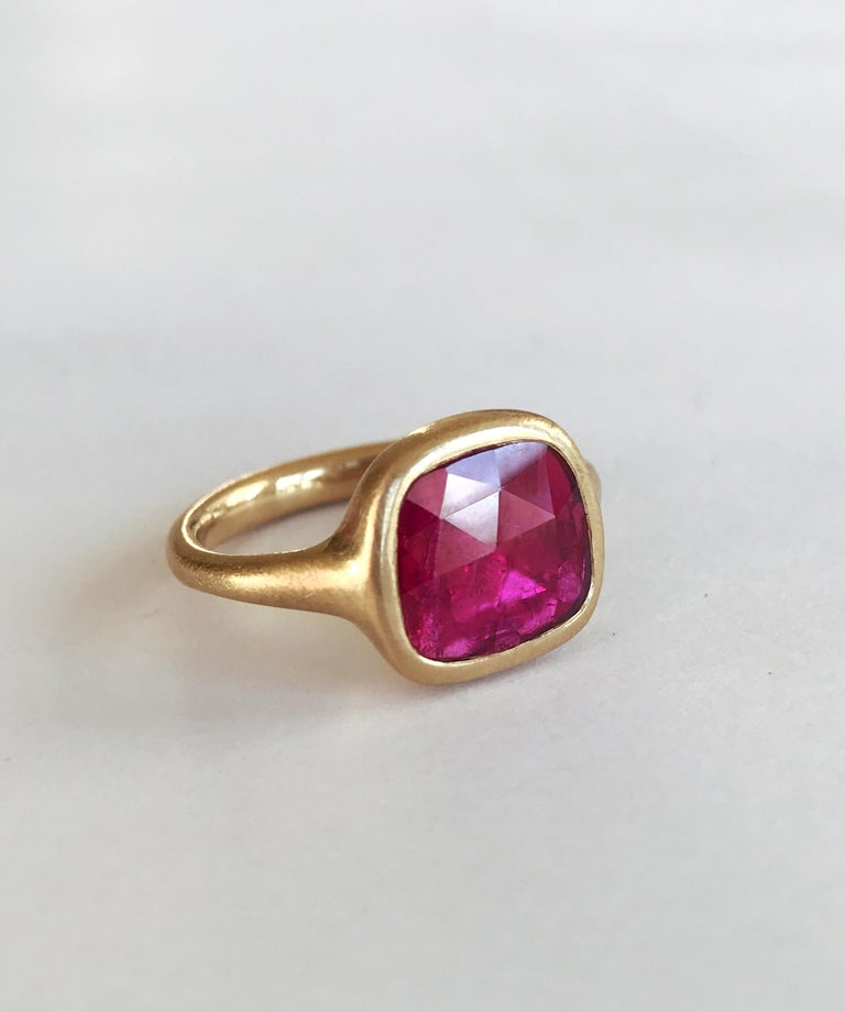 Women's Dalben Square Rose Cut Slice Ruby Yellow Gold Ring For Sale