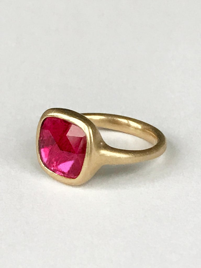 Dalben Square Rose Cut Slice Ruby Yellow Gold Ring For Sale 1