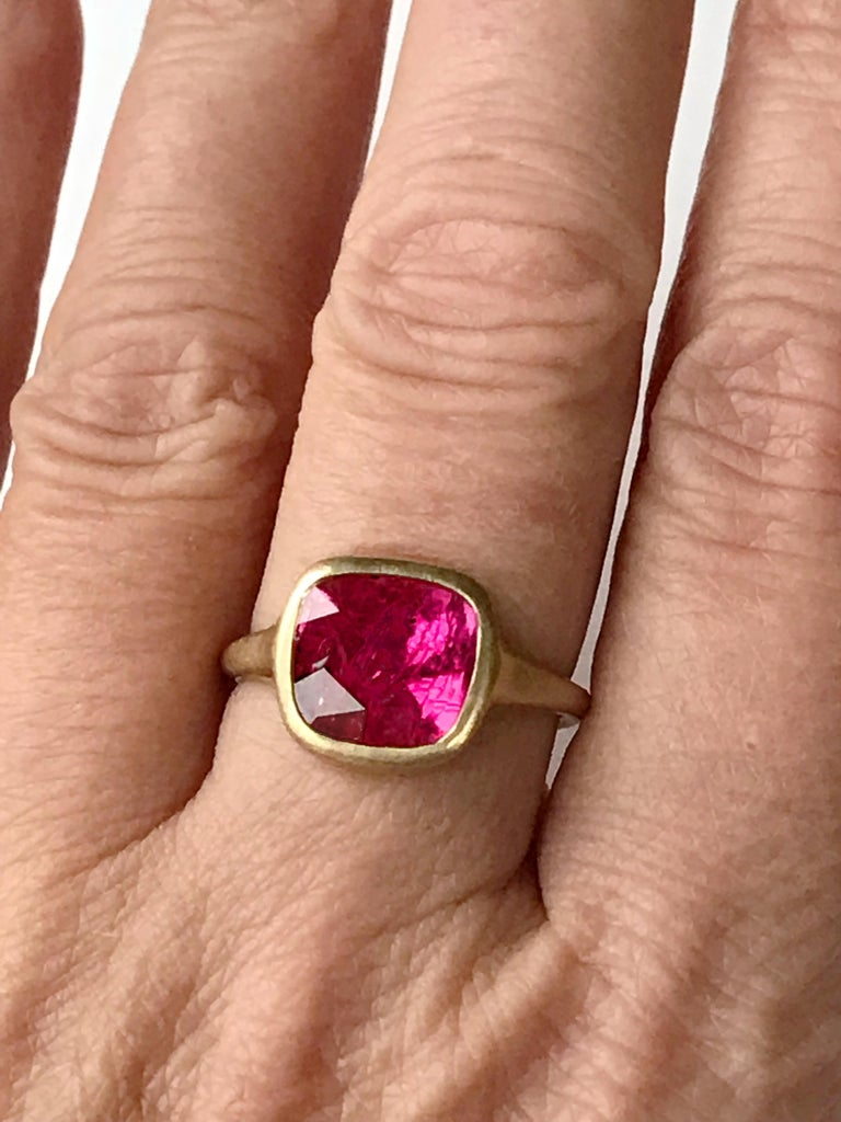 Dalben Square Rose Cut Slice Ruby Yellow Gold Ring For Sale 4