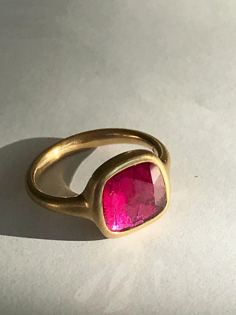 Dalben Square Rose Cut Slice Ruby Yellow Gold Ring For Sale 3