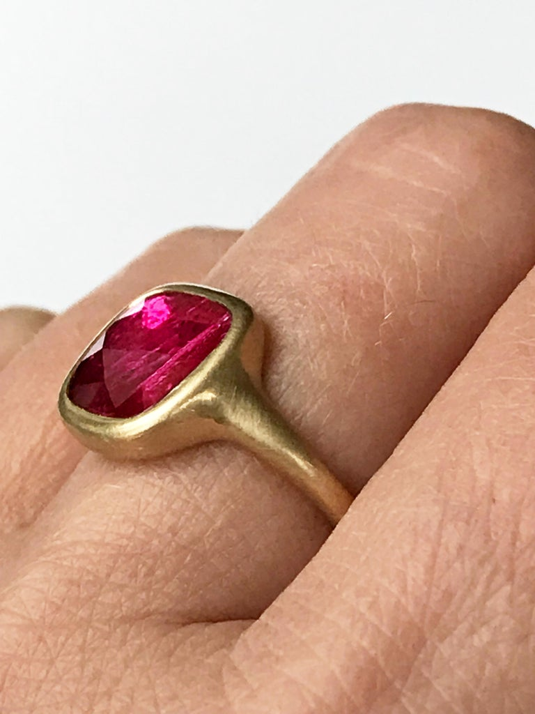 Dalben Square Rose Cut Slice Ruby Yellow Gold Ring For Sale 6