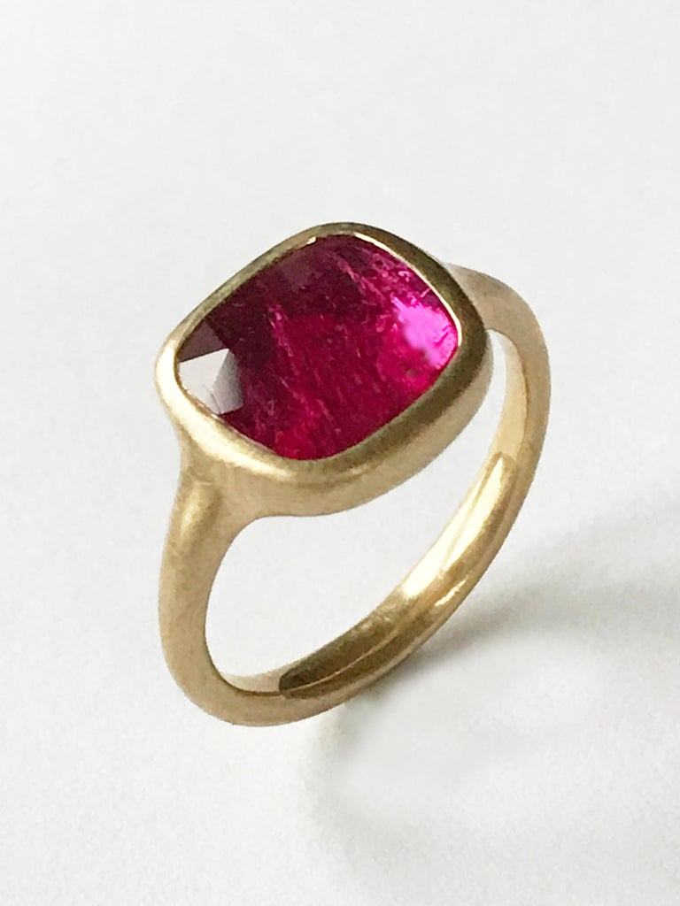 Dalben Square Rose Cut Slice Ruby Yellow Gold Ring For Sale 2