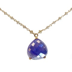 Dalben Tanzanite Diamond Gold Rosary Necklace