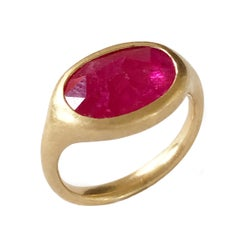 Dalben Big Oval Rose Cut Slice Ruby Yellow Gold Ring