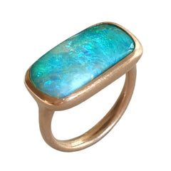 Dalben Rectangular Boulder Opal Rose Gold Ring