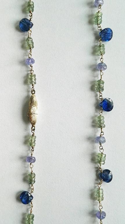 Dalben Green Sapphire Tanzanite Gold Necklace For Sale 2