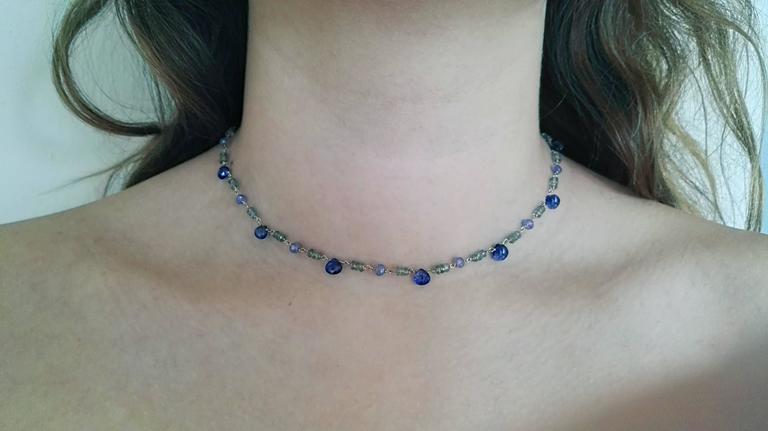 Dalben Green Sapphire Tanzanite Gold Necklace For Sale 1