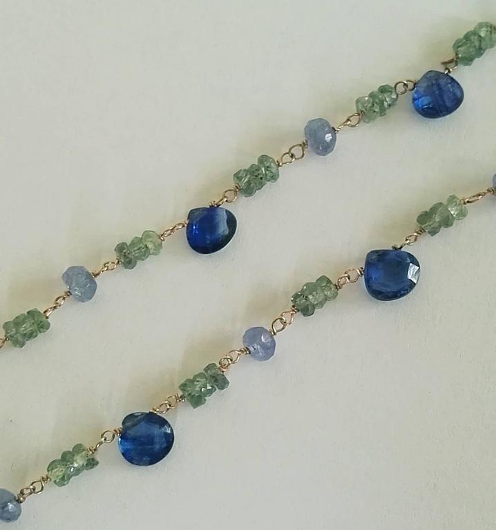 Dalben Green Sapphire Tanzanite Gold Necklace In New Condition For Sale In Como, IT