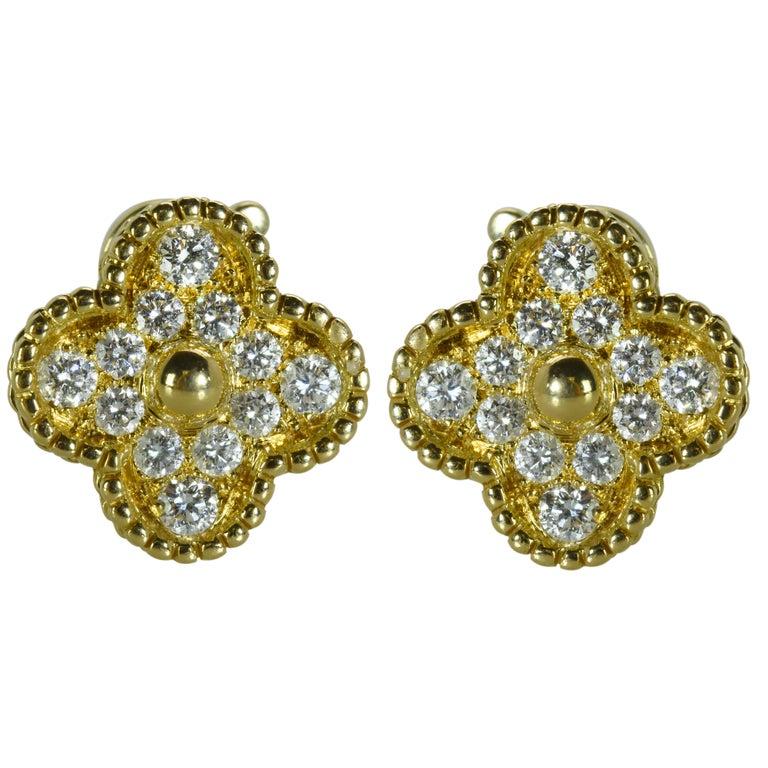Van Cleef & Arpels Alhambra Diamond Earrings For Sale