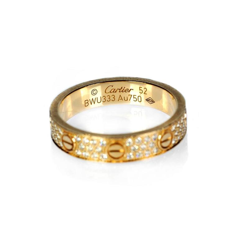 Cartier Diamond Gold Love Wedding Band Ring In Excellent Condition For Sale In New York, NY