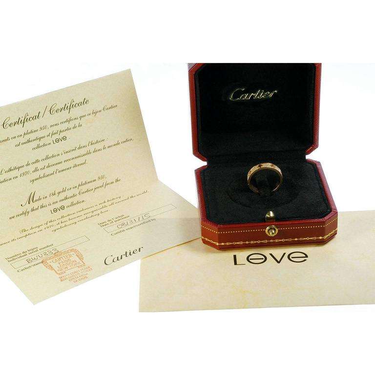 Women's Cartier Diamond Gold Love Wedding Band Ring For Sale
