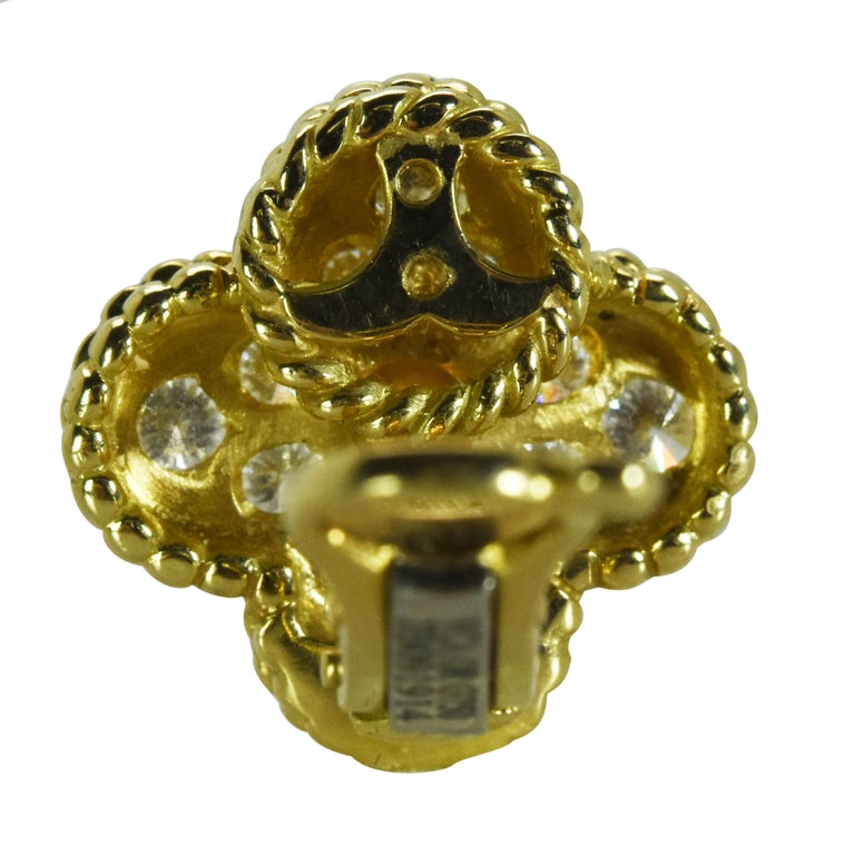 Modern Van Cleef & Arpels Alhambra Diamond Earrings For Sale