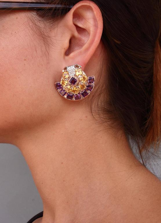 Luise Amethyst Topaz Diamond Gold Fan Earrings 2