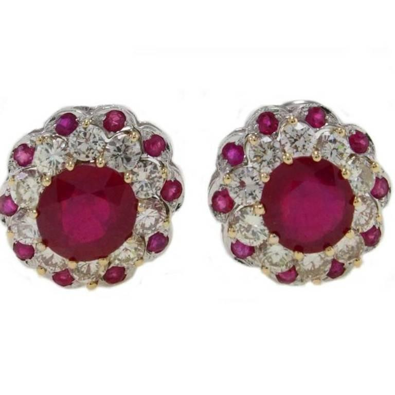 ct 2,05 Diamond and ct 5,29 Ruby  Gold Earrings